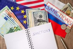 Sanctions of russia. Flag of usa and europe. sanctions of russia royalty free stock photography