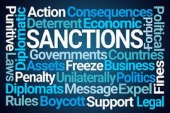 Sanctions Word Cloud. On Blue Background vector illustration