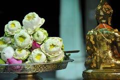 Sanctity Lotus and buddha statue Stock Photos
