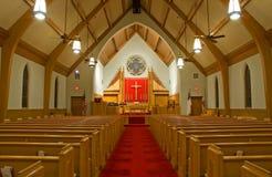 Sanctuaire d'église protestante image stock