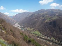 Sanctuaire de St Patrick San Patrizio, Colzate, Bergame, Italie Paysage sur la vallée de Seriana Photographie stock