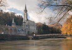Sanctuaries of Lourdes from Gave de Pau River Royalty Free Stock Image