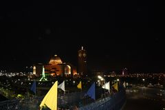 Sanctuary of Aparecida the night. Magnificent architecture of the Sanctuary of Aparecida open and illuminated for nocturnal visits of its faithful and pilgrims Stock Photo