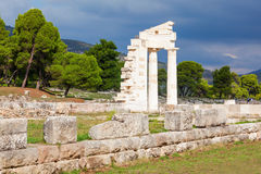 Sanctuary of Asclepios, Epidaurus. The Sanctuary Of Asklepios ruins at the Epidaurus in Greece. Epidaurus is a ancient city dedicated to the ancient Greek God of Royalty Free Stock Image