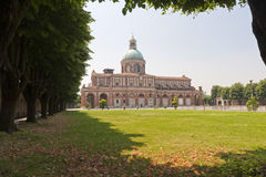 Sanctuary of Caravaggio, church and park. Sanctuary of Caravaggio (Bergamo, Lombardy, Italy), church and park in a sunny day stock photography