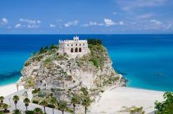 Sanctuary church Santa Maria dell Isola on top rock, Tropea, Italy stock photo