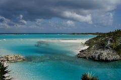 Sanctuary creek entrance. Open ocean and entrance in Sanctuary creek on Shroud Cay. Exuma. Bahamas Stock Photography