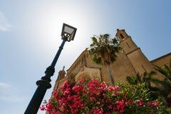 Sanctuary de Sant Salvador, Mallorca. Lantern and facade of Sanctuary de Sant Salvador in Arta, Mallorca Stock Images