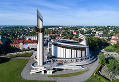 Sanctuary of Divine Mercy in Krakow, Poland. KRAKOW, POLAND - JUNE 02, 2017: Sanctuary of  Divine Mercy, church, park and cemetery in Lagiewniki, Cracow, Poland Royalty Free Stock Photos