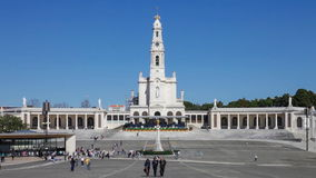 Sanctuary of Fatima. Devotees and pilgrims in the sanctuary square stock footage