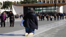 Sanctuary of Fatima. Devout walks the Penitential Path on knees stock video footage