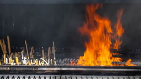 Sanctuary of Fatima. Votive candles burning in the pyre stock video