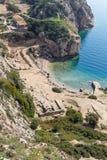 The Sanctuary of goddess Hera at Perachora, Corinthia, Greece. The Heraion of Perachora was a sanctuary of the goddess Hera situated in a small cove of the Royalty Free Stock Photo