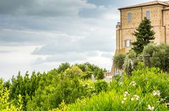Sanctuary of the Holy House of Loreto, Marches, Italy. View of the Apostolic Palace and the garden.  stock images