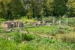 Sanctuary of Isis. Archaeological Park of Dion. Greece. Ruins of Sanctuary of Isis at the Archaeological Park of Dion. Pieria, Macedonia, Greece stock photo