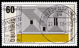 `Sanctuary` lithograph by Josef Albers, Walter Gropius, founder of Bauhaus School of Art, Weimar serie, circa 1983. MOSCOW, RUSSIA - FEBRUARY 21, 2019: A stamp stock photos