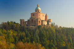 Sanctuary of the Madonna di San Luca. The sanctuary is the symbol of Bologna. Erected in the Baroque style in 1741. Built in honor of the image of the Madonna Royalty Free Stock Photos