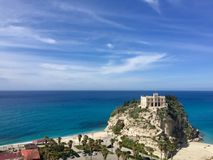 Sanctuary of the Madonna of the Island of Tropea, italy royalty free stock image