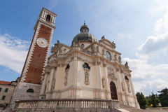 Sanctuary of Mother Mary in Monte Berico Vicenza. Sanctuary of Our Lady of Monte Berico, facade of the basilica, dome and bell tower, Vicenza (UNESCO), Veneto Royalty Free Stock Images