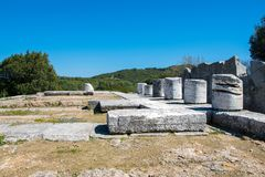 Sanctuary of Nemesis at Rhamnous in north- east Attica in Greece. stock images
