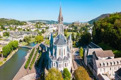 Sanctuary Our Lady Church, Lourdes. Sanctuary of Our Lady of Lourdes is a roman catholic church in Lourdes town in France stock photos