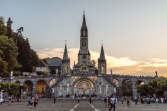 Sanctuary of our lady of lourdes. The famous church famous for healing people located in lourdes france captured in june 2017 Stock Photography