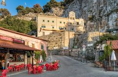 Sanctuary of Saint Rosalia on the Bonanno street with bars, restaurants and shops in top of Monte Pellegrino in Palermo. Stock Photo