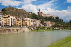 Sanctuary of the Sant Crist from the River Segre. In Balaguer, Catalonia Stock Photo