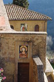 Sanctuary of St. Maria de Rupes. Near Rome. The sanctuary is located on the crest of a natural creek at Castel S. Elia near nepi royalty free stock photography