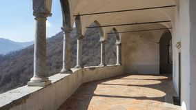 The Sanctuary of St. Patrick San Patrizio, Colzate, Bergamo, Italy. A Christian cloister Royalty Free Stock Image