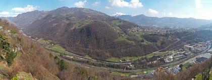 Sanctuary of St. Patrick San Patrizio, Colzate, Bergamo, Italy. Landscape on the Seriana Valley. During winter time Stock Photos