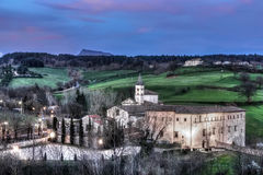 Sanctuary sunset. The Sanctuary of Santa Maria del Sasso near the small town of Bibbiena (Tuscany - Italy) in a picturesque view of the sunset. In the background Stock Photos