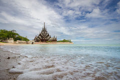 Sanctuary of truth in Chonburi thailan Royalty Free Stock Photos