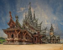 Sanctuary of Truth, Pattaya, Thailand. Royalty Free Stock Photos