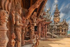 Sanctuary of Truth, Pattaya, Thailand. Royalty Free Stock Photo