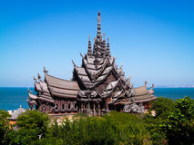 Sanctuary of Truth is a temple construction in Pattaya. Thailand Attraction The Sanctuary of Truth is Thailand Living Heritage - The Magnificence of Heaven royalty free stock photos