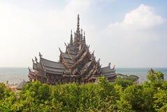 Sanctuary of Truth temple, Pattaya, Thailand stock photo