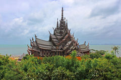 Sanctuary of Truth temple in Thailand Royalty Free Stock Photography