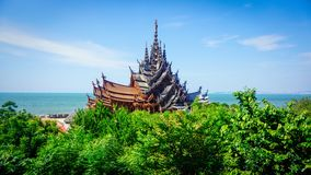 Sanctuary of truth pattaya thailand royalty free stock images