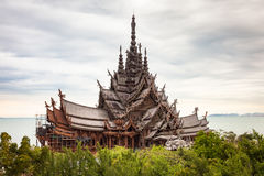 Sanctuary of Truth Thailand. Amazing all wooden architectural wonder in Pattaya, Thailand called the Sanctuary of Truth Royalty Free Stock Image