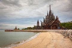 Sanctuary of Truth Thailand. Amazing all wooden architectural wonder in Pattaya, Thailand called the Sanctuary of Truth Stock Photos