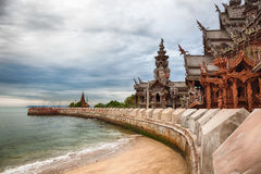 Sanctuary of Truth Thailand. Amazing all wooden architectural wonder in Pattaya, Thailand called the Sanctuary of Truth royalty free stock images