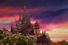 Sanctuary of Truth, Thailand. Sunset Stock Photos