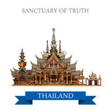 Sanctuary of Truth Thailand vector flat attraction travel Stock Photography