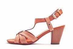 Sandália de couro das mulheres Fotos de Stock