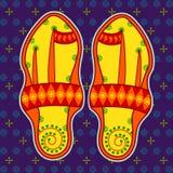 Sandália de Kolhapuri no estilo indiano da arte Fotos de Stock Royalty Free