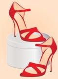 Sandália e caixa Fotografia de Stock Royalty Free