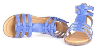 Sandália nova das crianças azuis Foto de Stock