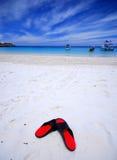 Sandália pela praia Imagens de Stock
