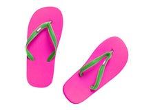 Sandálias cor-de-rosa isoladas com o trajeto no branco Fotos de Stock Royalty Free